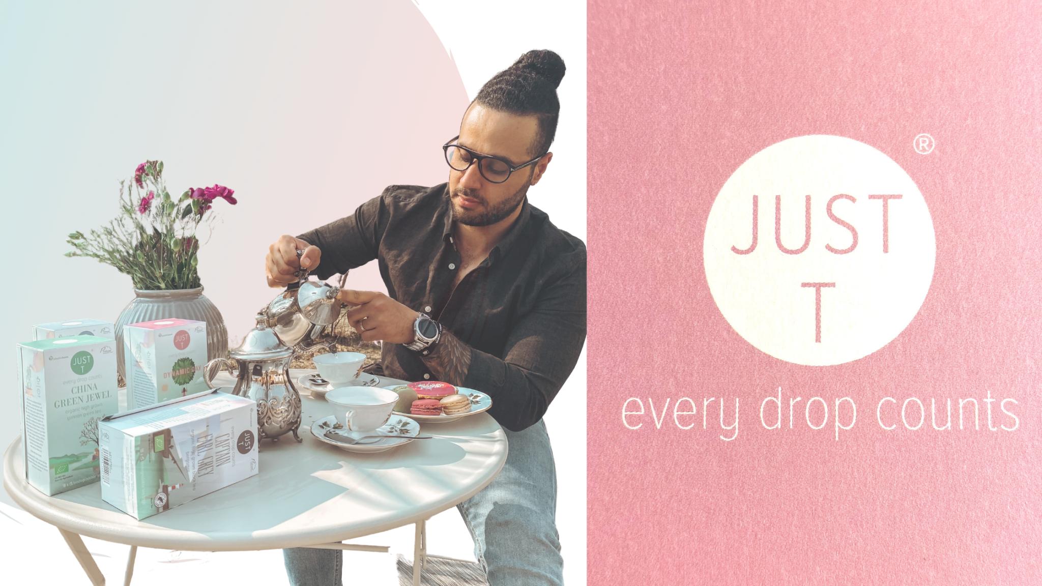 vastuullisia teehetkiä, Just t logo, sekä teksti every drop counts, mies istumassa päydä ääressä, kaatamassa teetä kannusta kuppiin, pöydällä kukkia maljakossa ja teepaketteja.